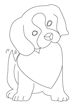 Valentine's Day puppy drawing