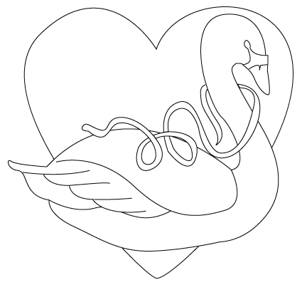Valentine's Day swan drawing